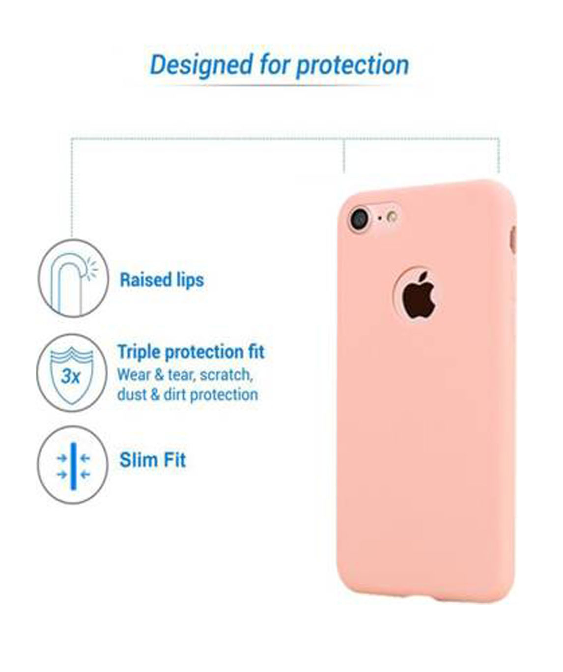 BACK COVER FOR APPLE IPHONE 6 (LIGHT PINK, GRIP CASE)