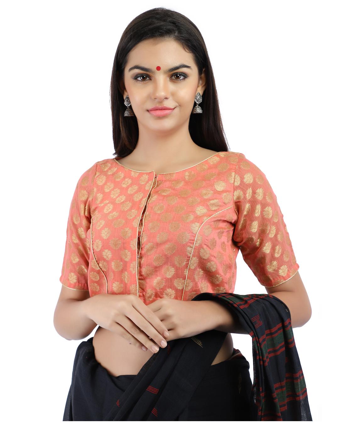 Banarasi Chanderi Silk Jacquard Front-Open Blouse In Peach(COLOUR : PEACH)
