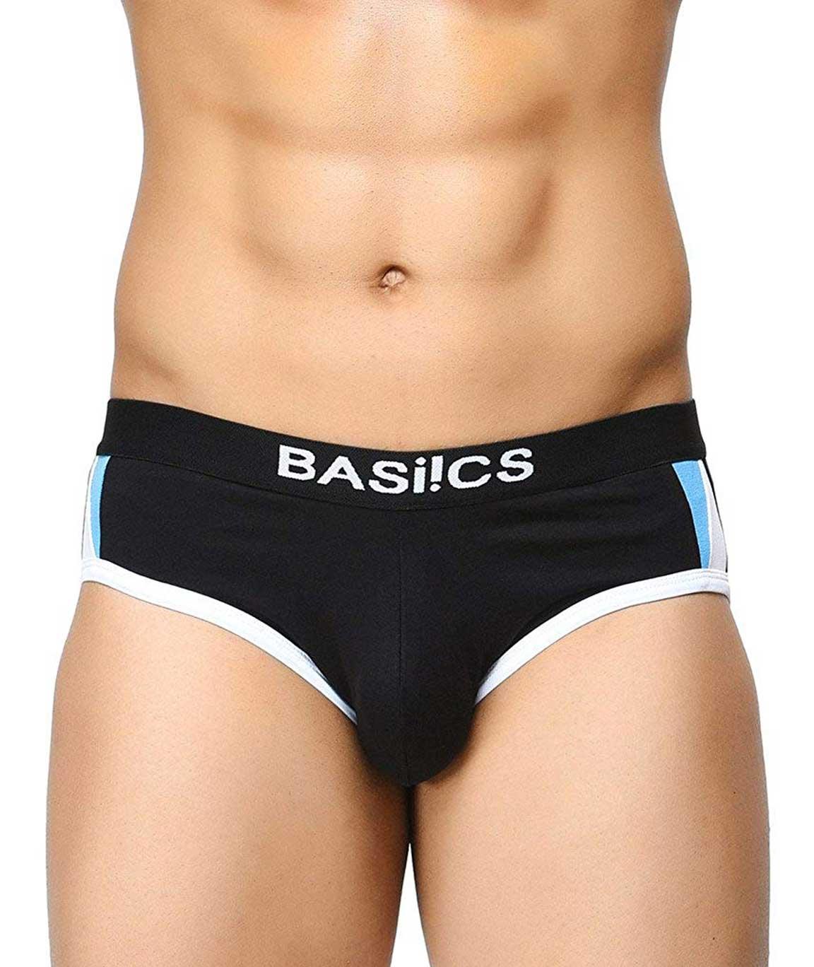 BASIICS by La Intimo Men`s Black Cotton Spandex Modern Pattern Brief