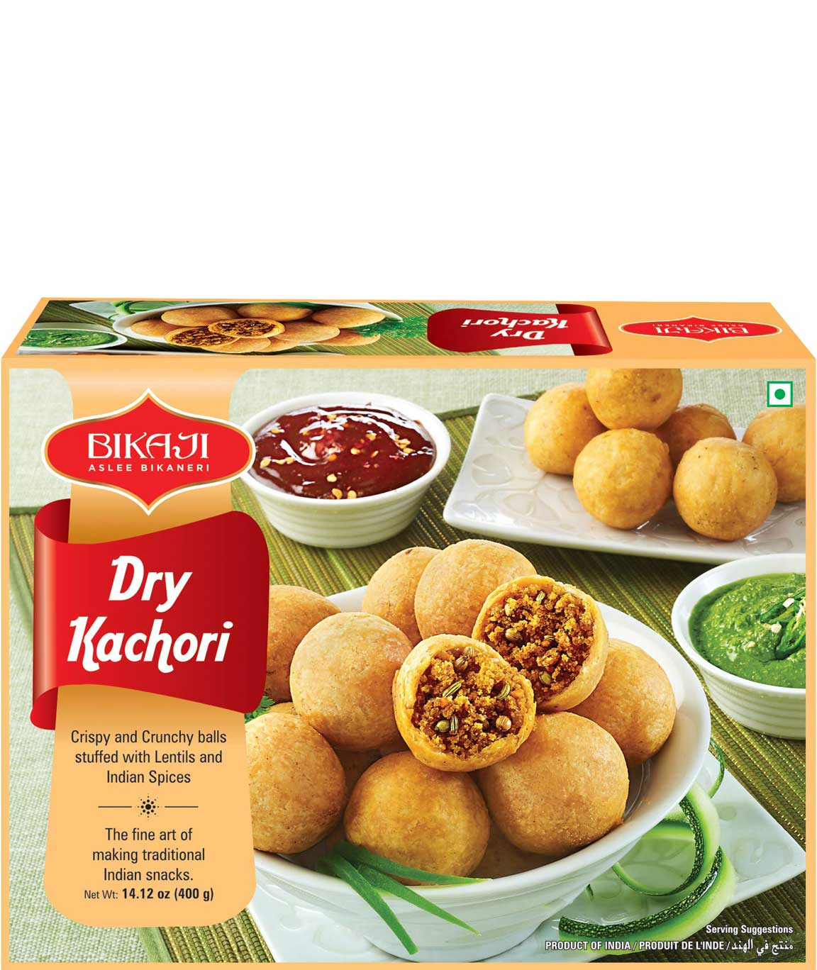 Bikaji Aslee Bikaneri - Dry Kachori 400g - 100% Vegetarian - Indian Namkeen Snack - Pack of 5