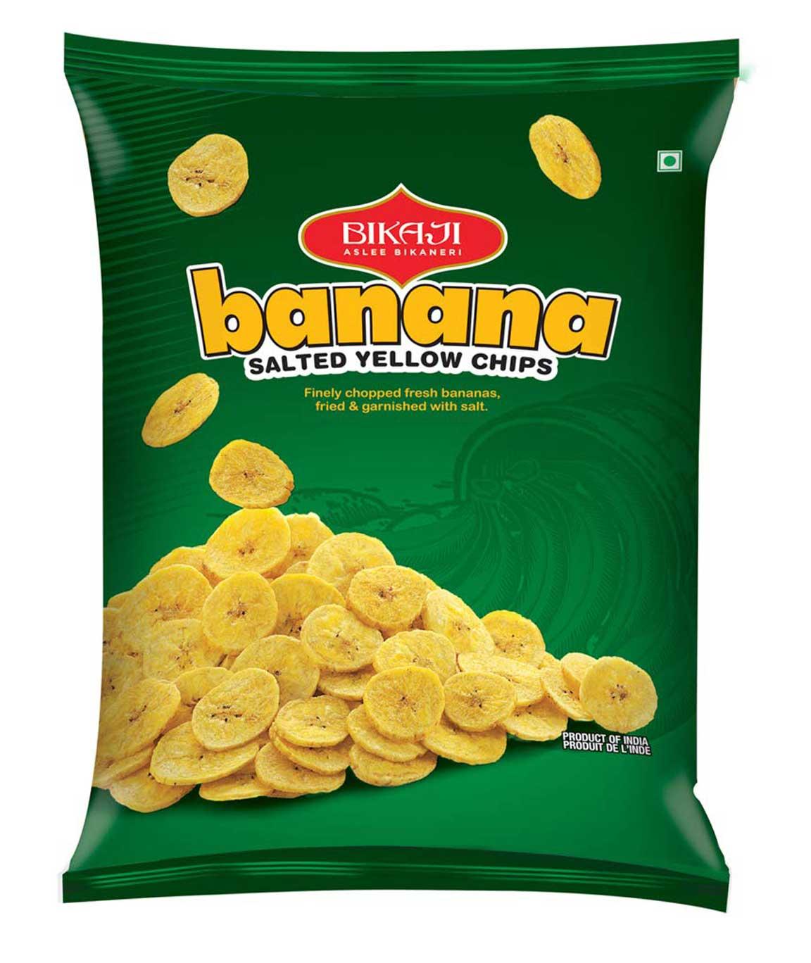 Bikaji Aslee Bikaneri - Yellow Banana Salted Chips 80g - 100% Vegetarian - Indian Namkeen Snack - Pack of 3