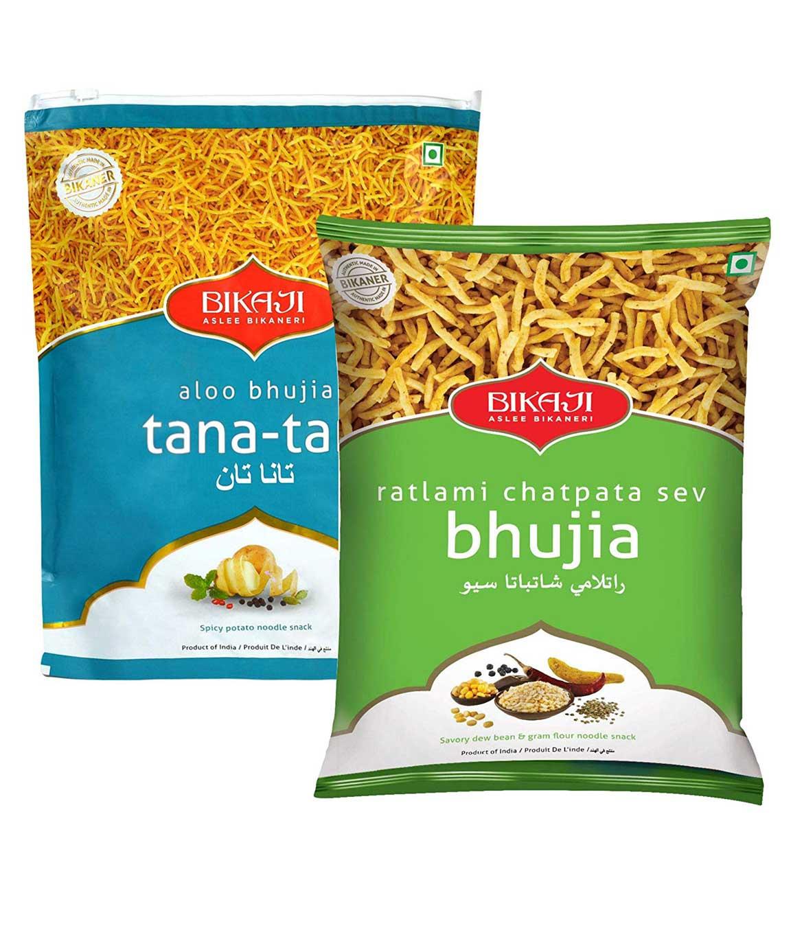 Bikaji Combo Pack - Aloo Bhujia Tana-Tan 400gm - Ratlami Chatpata Sev Bhujia 400gm - Indian Namkeen Snacks - (Pack of 2)