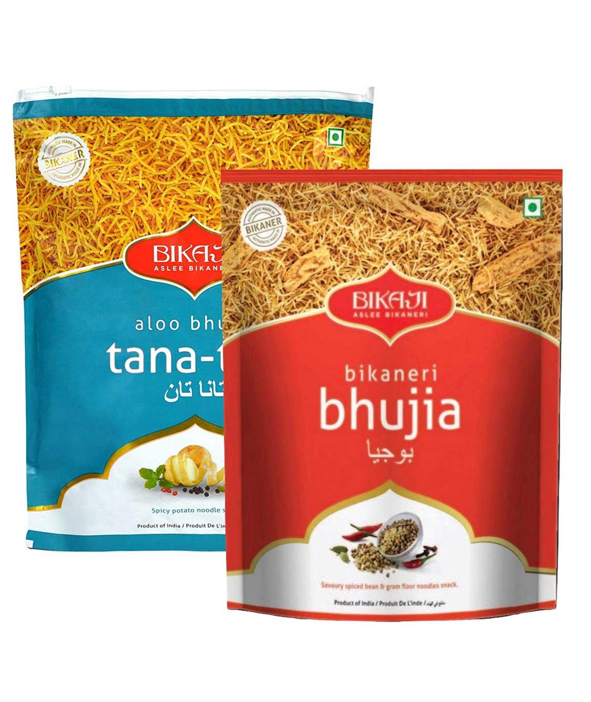 Bikaji Combo Pack - Bikaji bhujiya 400gm - Aloo Bhujia Tana-Tan 400gm - Indian Namkeen Snacks - (Pack of 2)