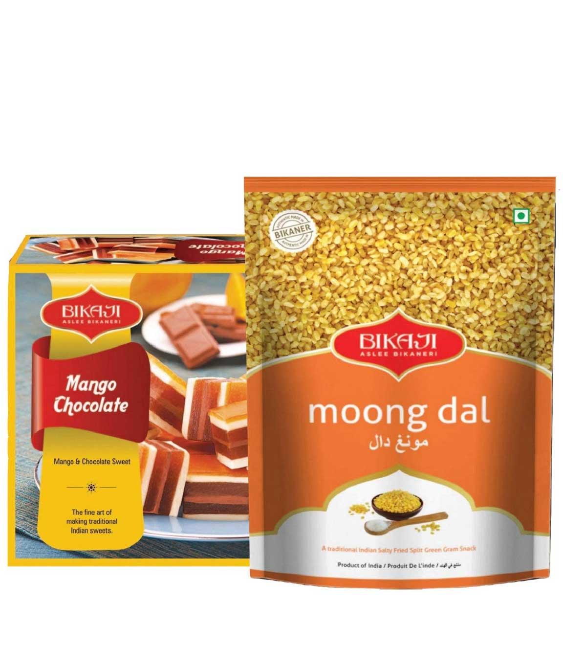 Bikaji Combo Pack - Mango Chocolate 500g - Moong Daal 400g - Pack of 2