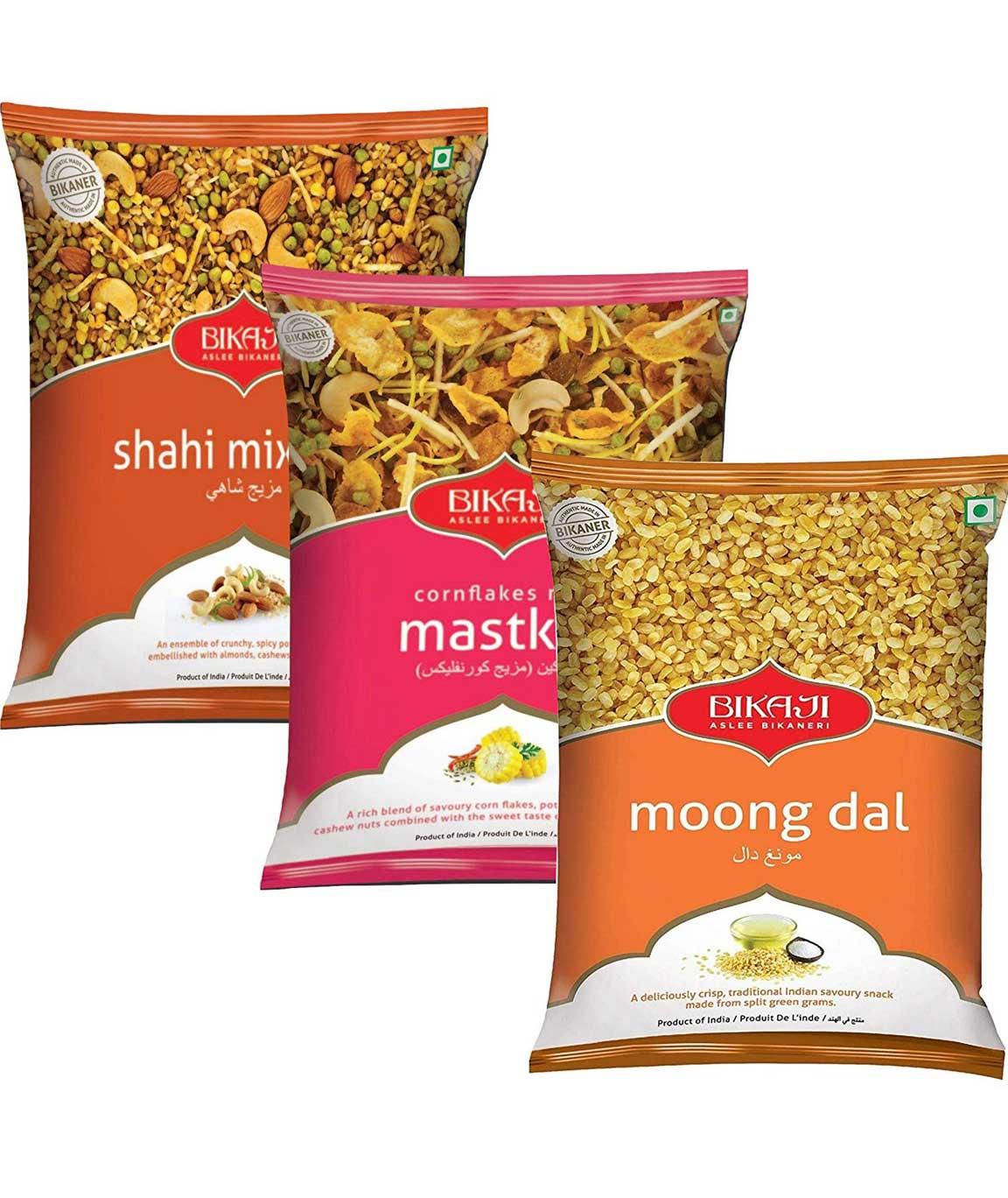 Bikaji Combo Pack - Shahi Mixture 150gm - Moong Daal 400gm - Cornflakes Mastkin 350gm - Indian Namkeen Snacks (Pack of 3)