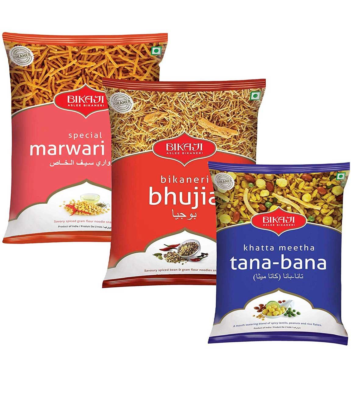 Bikaji Combo Pack - Special Marwari Sev 400gm -Bikaneri Bhujia 400gm - Khattha Meetha Tana-Bana 400g - Indian Namkeen Snack - (Pack of 3)