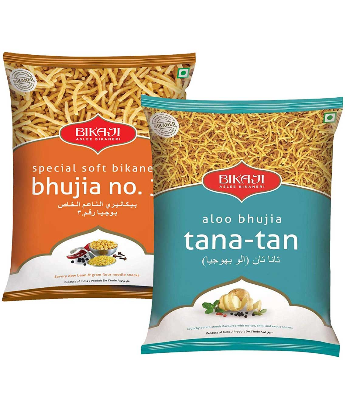Bikaji Combo Pack - Special Soft Bhujia 400gm - Aloo Bhujia Tana-Tan 400gm - Indian Namkeen Snacks - (Pack of 2)