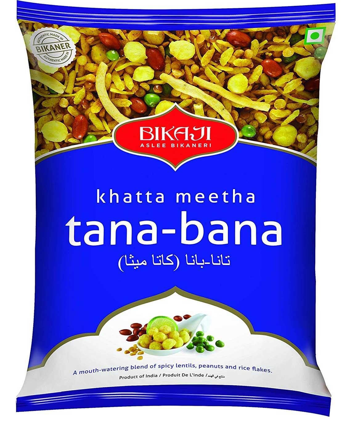 Bikaji Khatta Meetha tana-bana - Indian Neemkeen - Sweet and Spicy Mixture - 1 Kg Pack of 2 - Zip Lock Pack