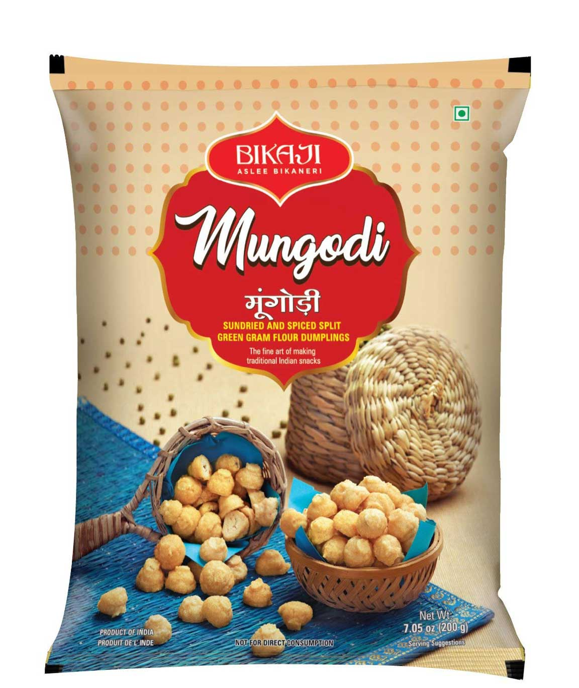 Bikaji Mungoli Badi - Traditional Rajasthani Moong Dal Mangodi - Sundried and Spiced Dumplings -100% Vegetarian Indian Snack - 200gm - (Pack of 4)