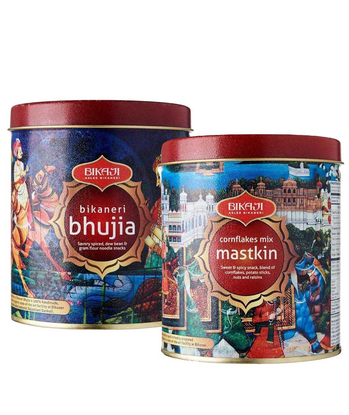 Bikaji Snack Combo Pack - Bikaneri Bhujia 200g(Tin) - Cornflakes Mix 200g(Tin) - Pack of 2