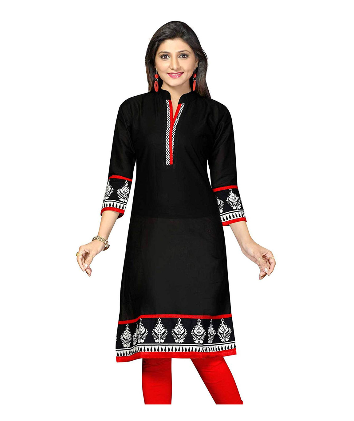 Black Cotton 3/4 th Sleeves Women Kurtis