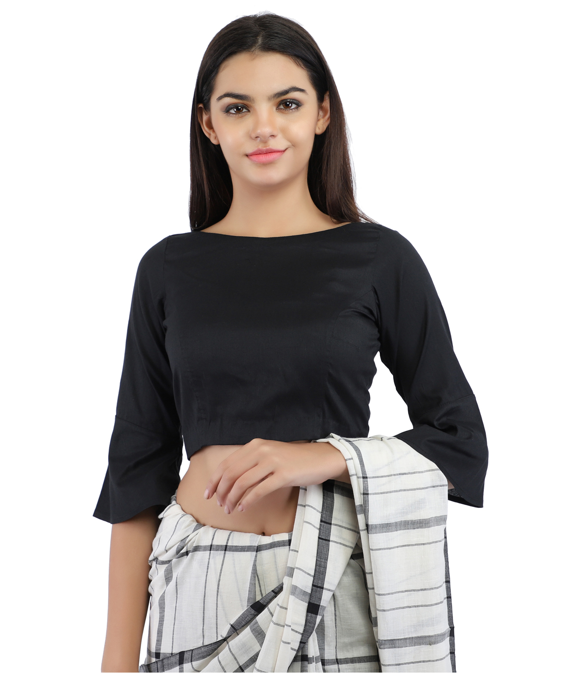 Black Cotton Silk Non-Padded Back Open Blouse in Boat Neck With Bell Sleeve(COLOUR : BLACK)