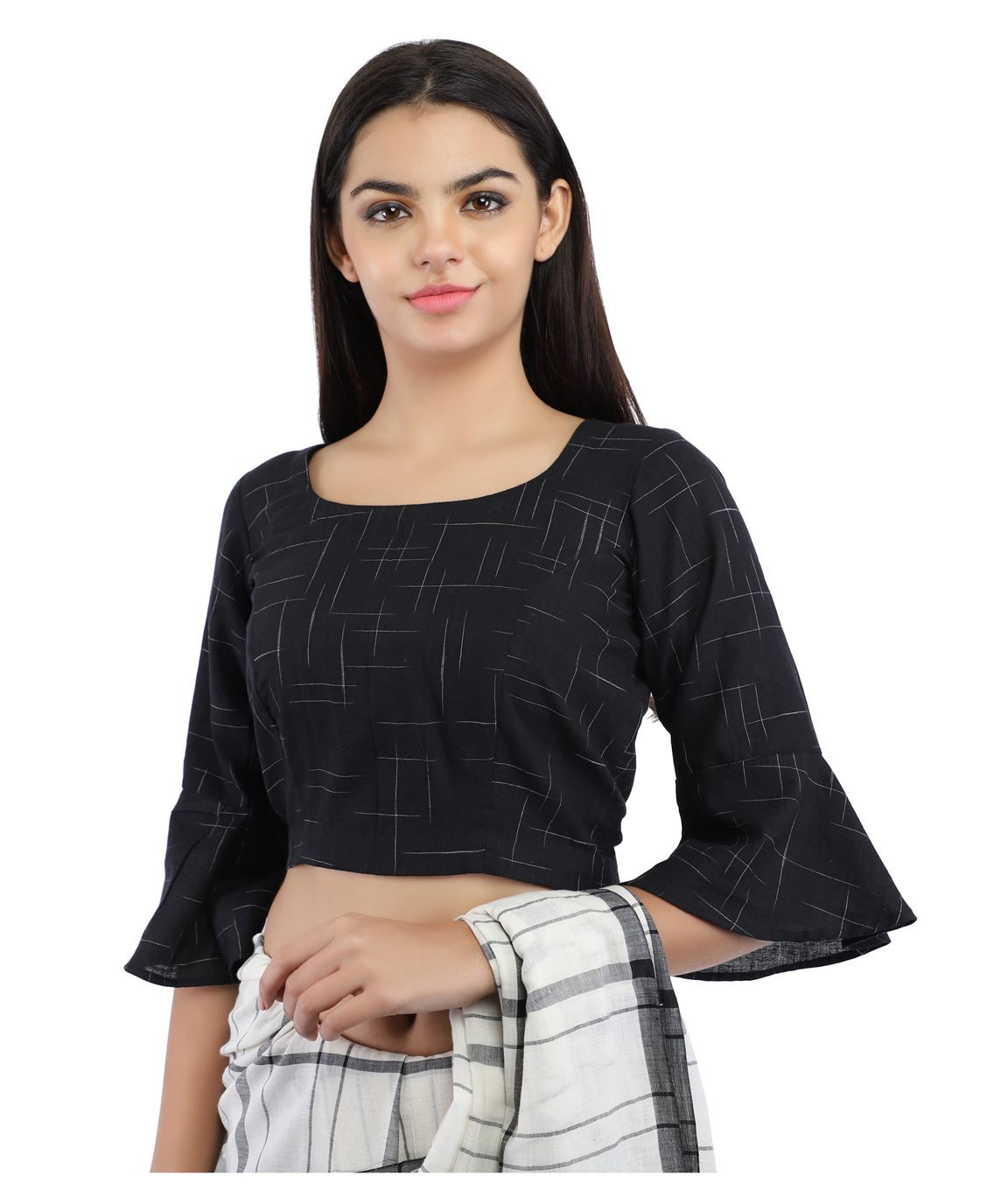 Black Pure Cotton Handloom Back-Open Blouse With Bell Sleeve(COLOUR : BLACK)