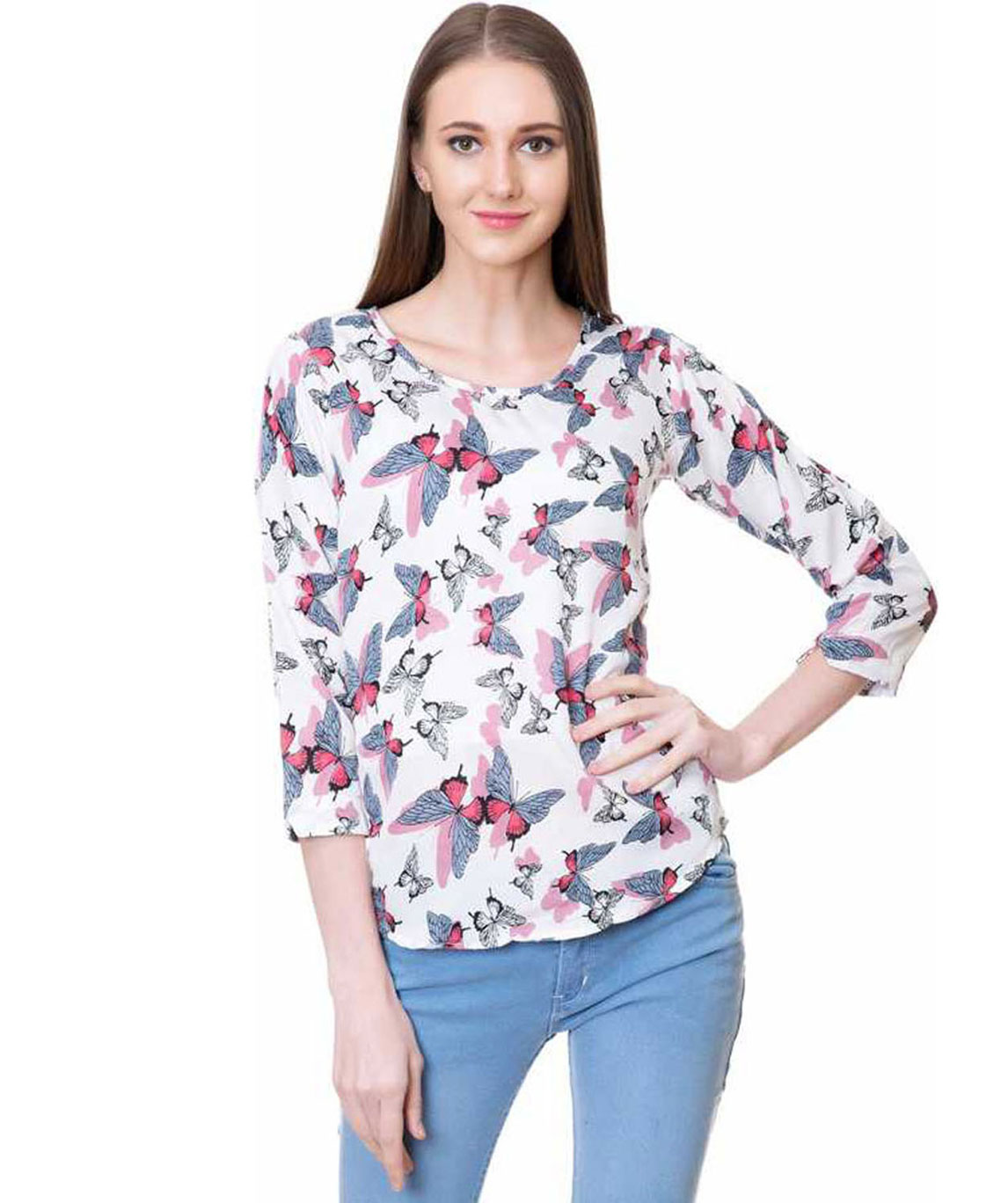 CASUAL 3/4 SLEEVE ANIMAL PRINT WOMEN WHITE, PINK, GREY, MULTICOLOR TOP