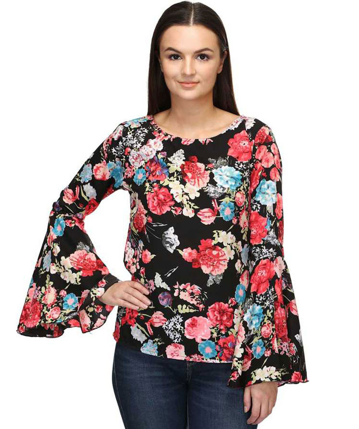 CASUAL BELL SLEEVE PRINTED WOMEN BLACK, RED MULTICOLOR TOP