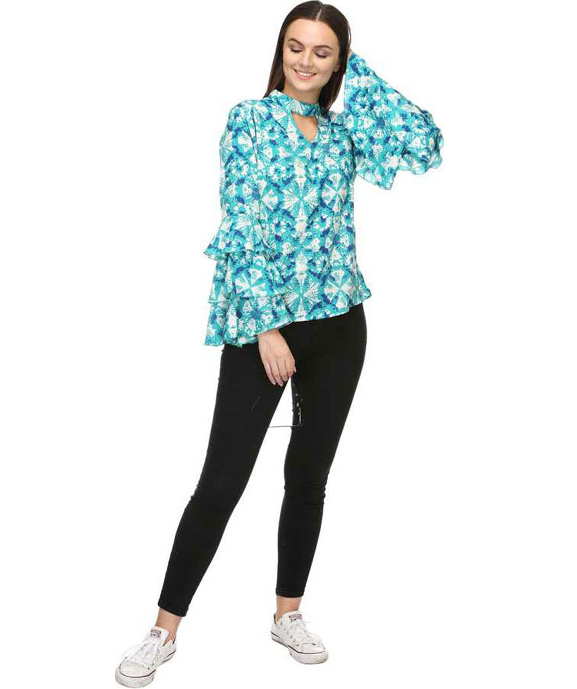 CASUAL LAYERED SLEEVE PRINTED WOMEN BLUE TOP