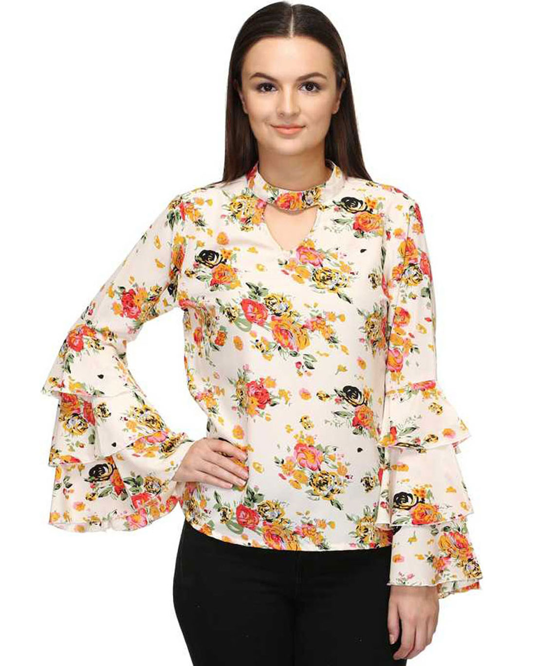 CASUAL LAYERED SLEEVE PRINTED WOMEN MULTICOLOR TOP