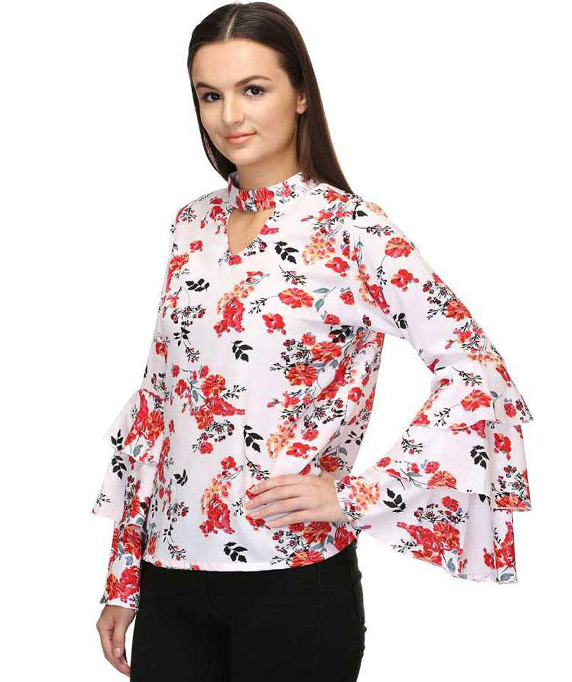 CASUAL LAYERED SLEEVE PRINTED WOMEN WHITE, RED TOP