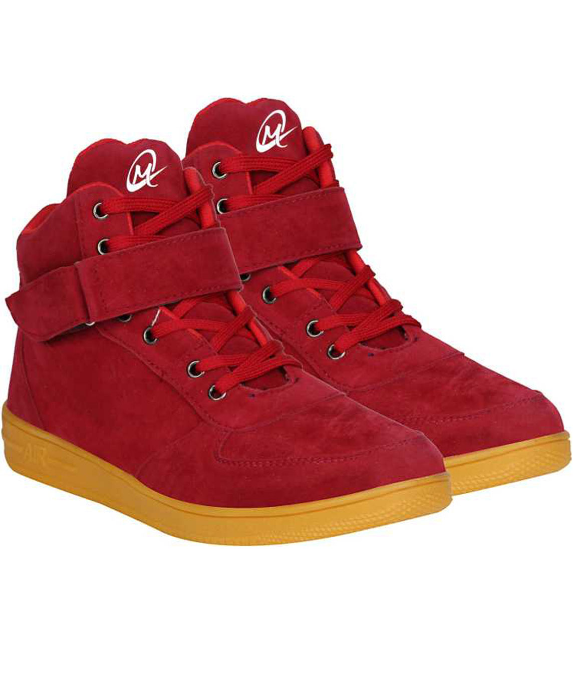 CASUAL LONG SUEDE BOOT SNEAKERS FOR MEN (RED, GOLD)