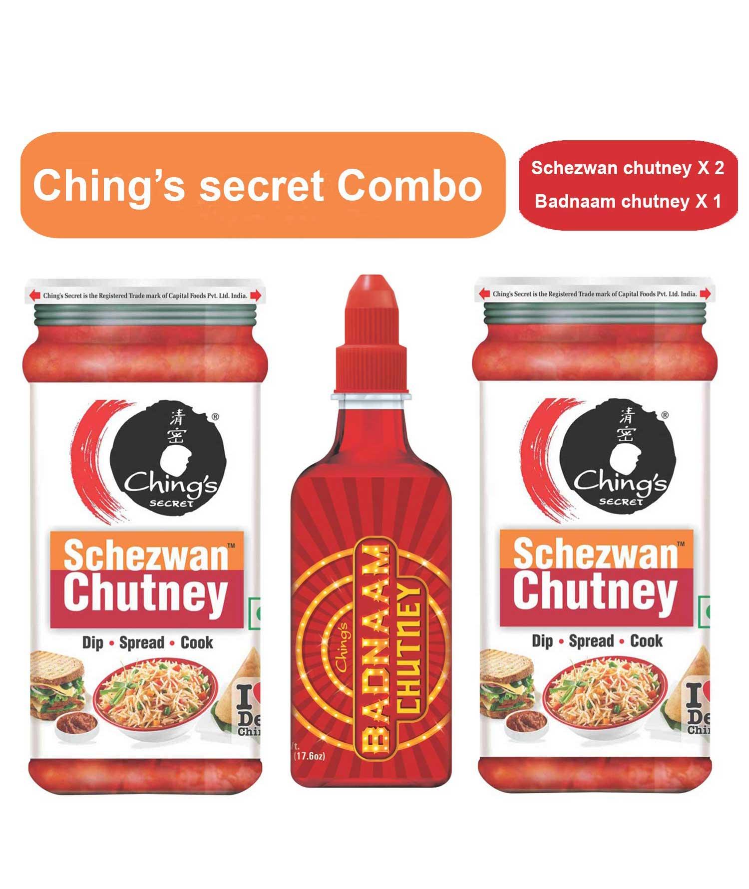 Chings Secret Combo of Schezwan Chutney X 2 and Badnaam Chutney X 1 (Pack of 3)