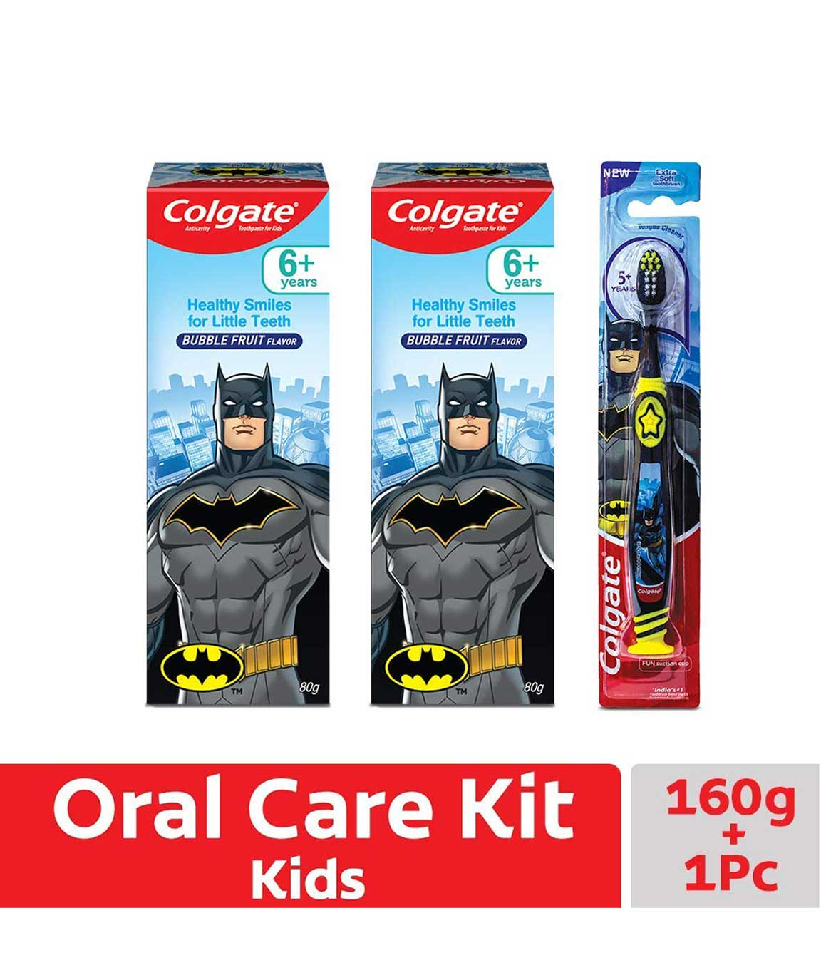 Colgate Kids Anticavity Batman Toothpaste - 80 gm (Pack of 2) and Batman Toothbrush - 1 pc