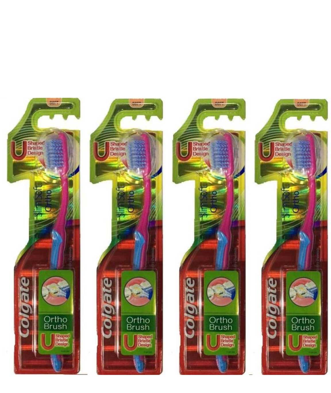 Colgate ortho Brush Slim soft Toothbrush 100% Whole Mouth Cleaner Cheek & Tongune Cleaner shaped bristle design Pack Of 4pc