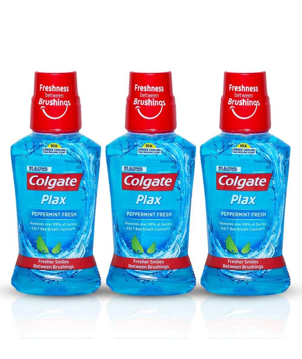 Colgate Plax Pepper Mint Mouthwash, 250ml (Pack of 3)