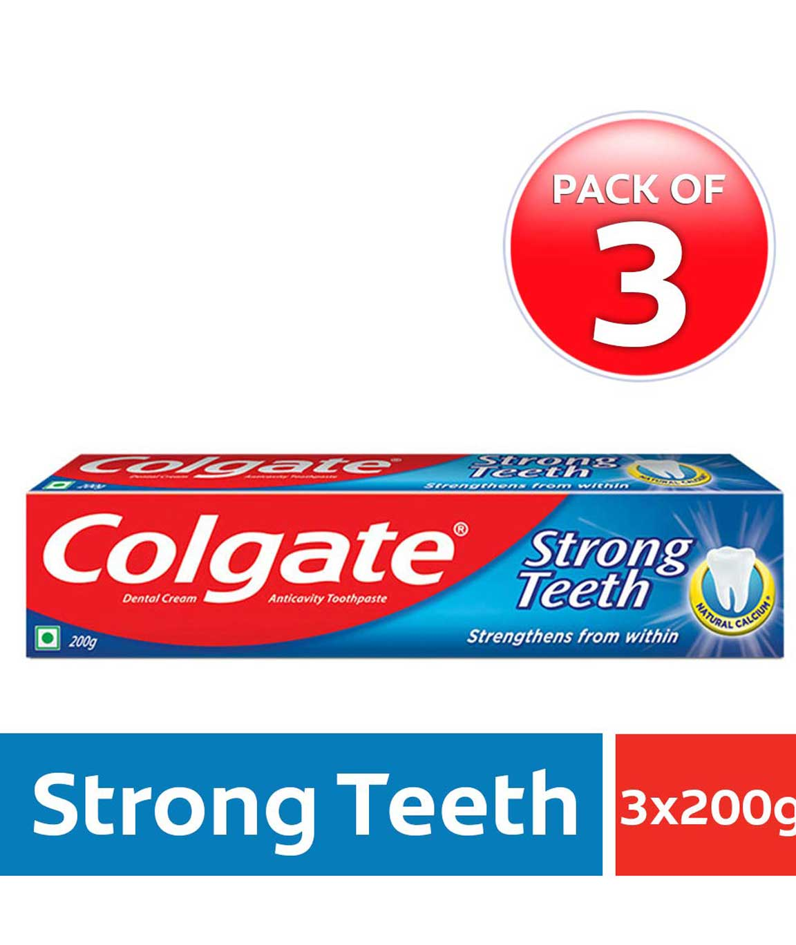 Colgate Strong Teeth Anti-Cavity Toothpaste – 200g (Pack of 3)