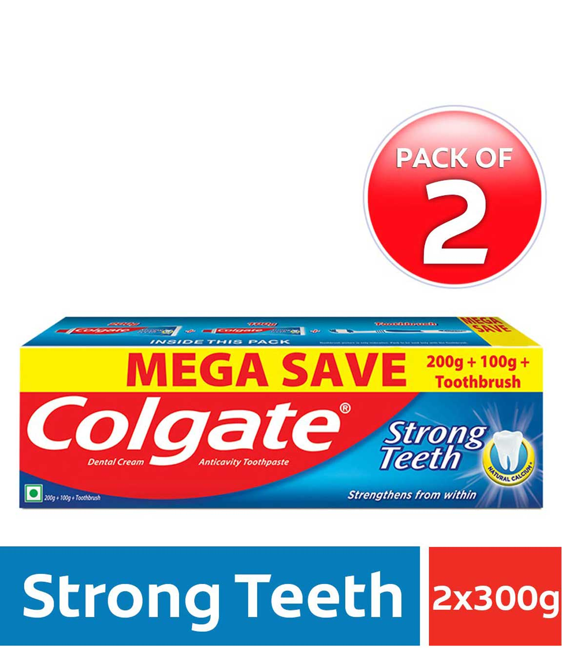 Colgate Strong Teeth Anti-Cavity Toothpaste – 300g with Free Toothbrush (Pack of 2)