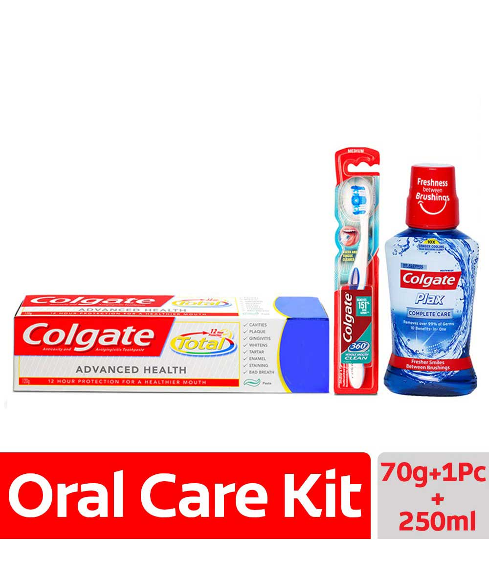Colgate Total Advance Health Toothpaste - 120 gm and 360 Whole Mouth Clean Toothbrush with Plax Complete Care Mouthwash - 250 ml