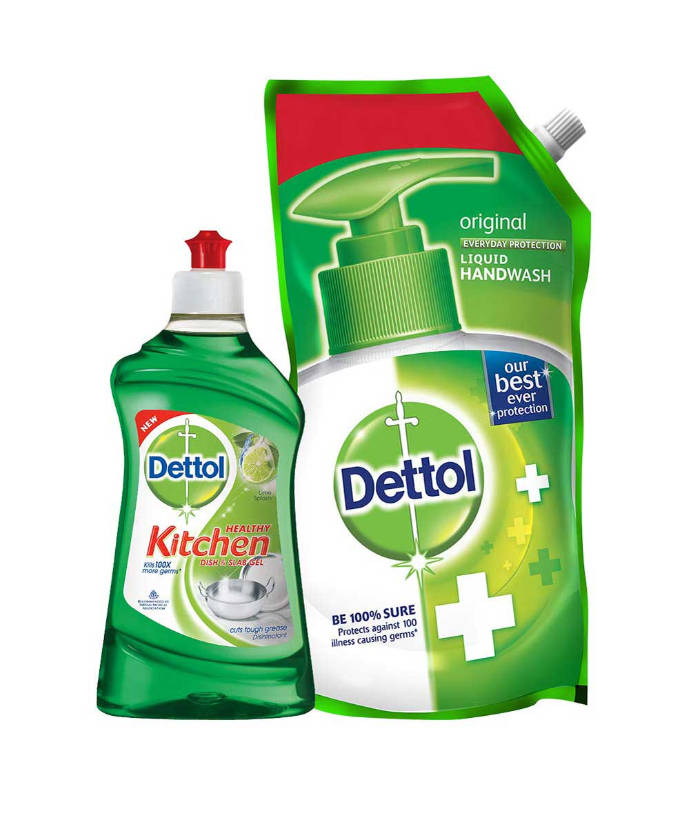 Dettol Kitchen Gel - 400 ml (Lime) with Dettol Original Liquid Soap Refill - 750 ml