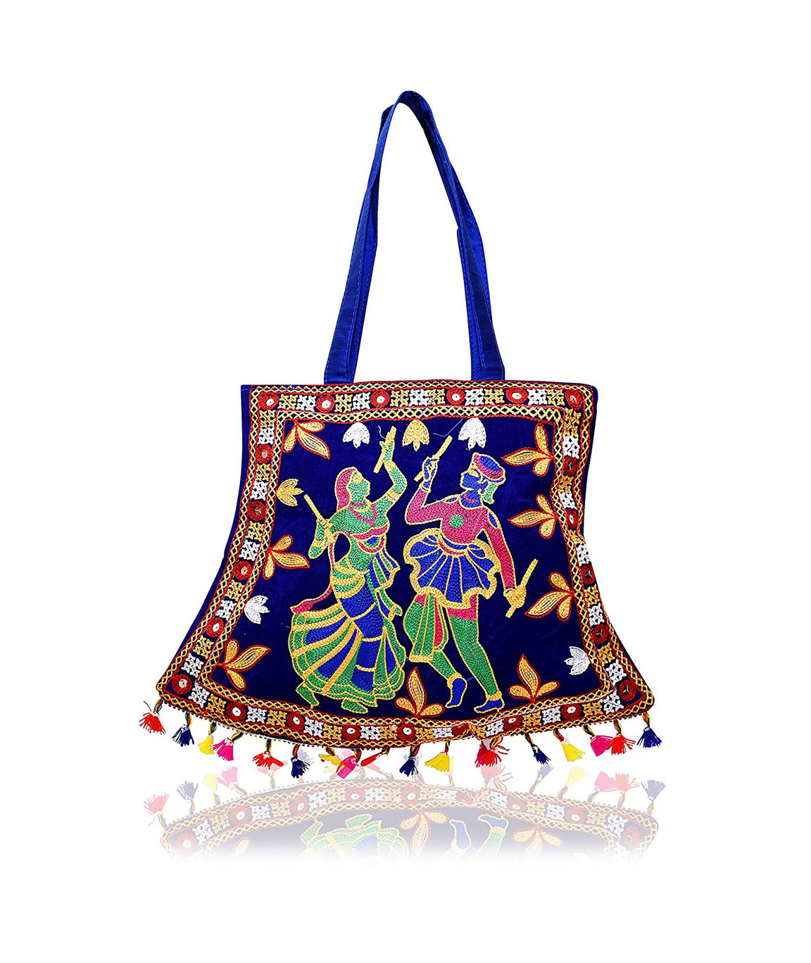 DN Enterprises Designer Embroidered Dark Blue Stylish Shopping Bag ToteBag Thaila Carry Bag(dark blue)