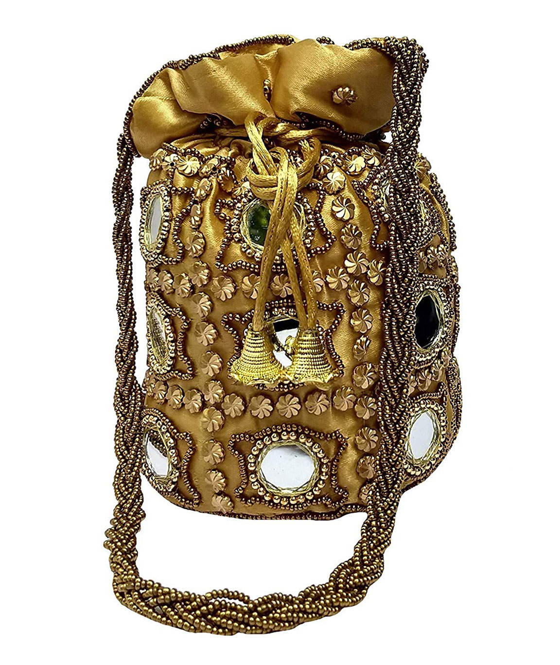 DN Enterprises Designer Potli Bag with Beadwork For Women Silk Fabric Standard Size Single Bag(gold)