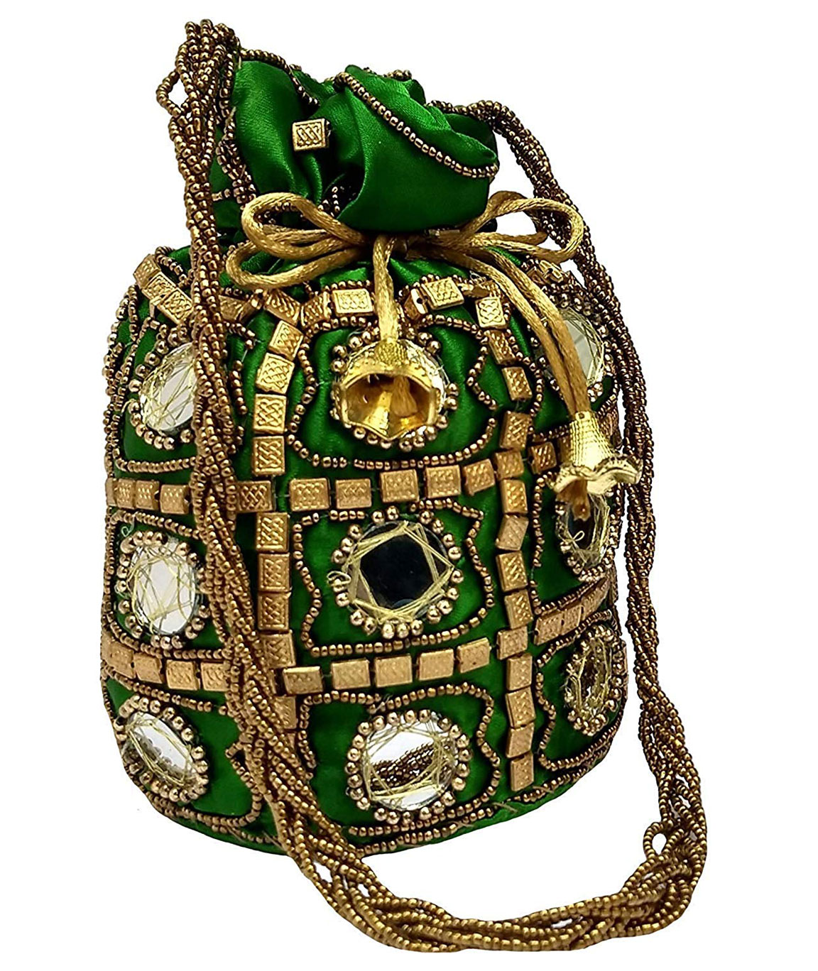 DN Enterprises Designer Potli Bag with Beadwork For Women Silk Fabric Standard Size Single Bag(green)