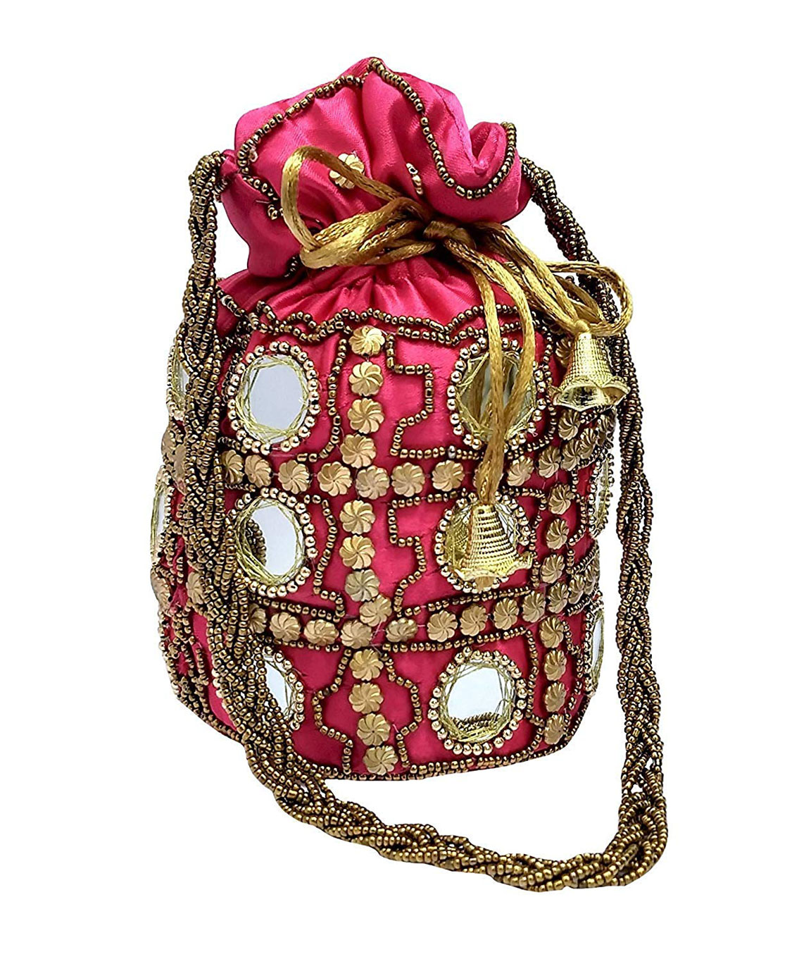 DN Enterprises Designer Potli Bag with Beadwork For Women Silk Fabric Standard Size Single Bag(pink)