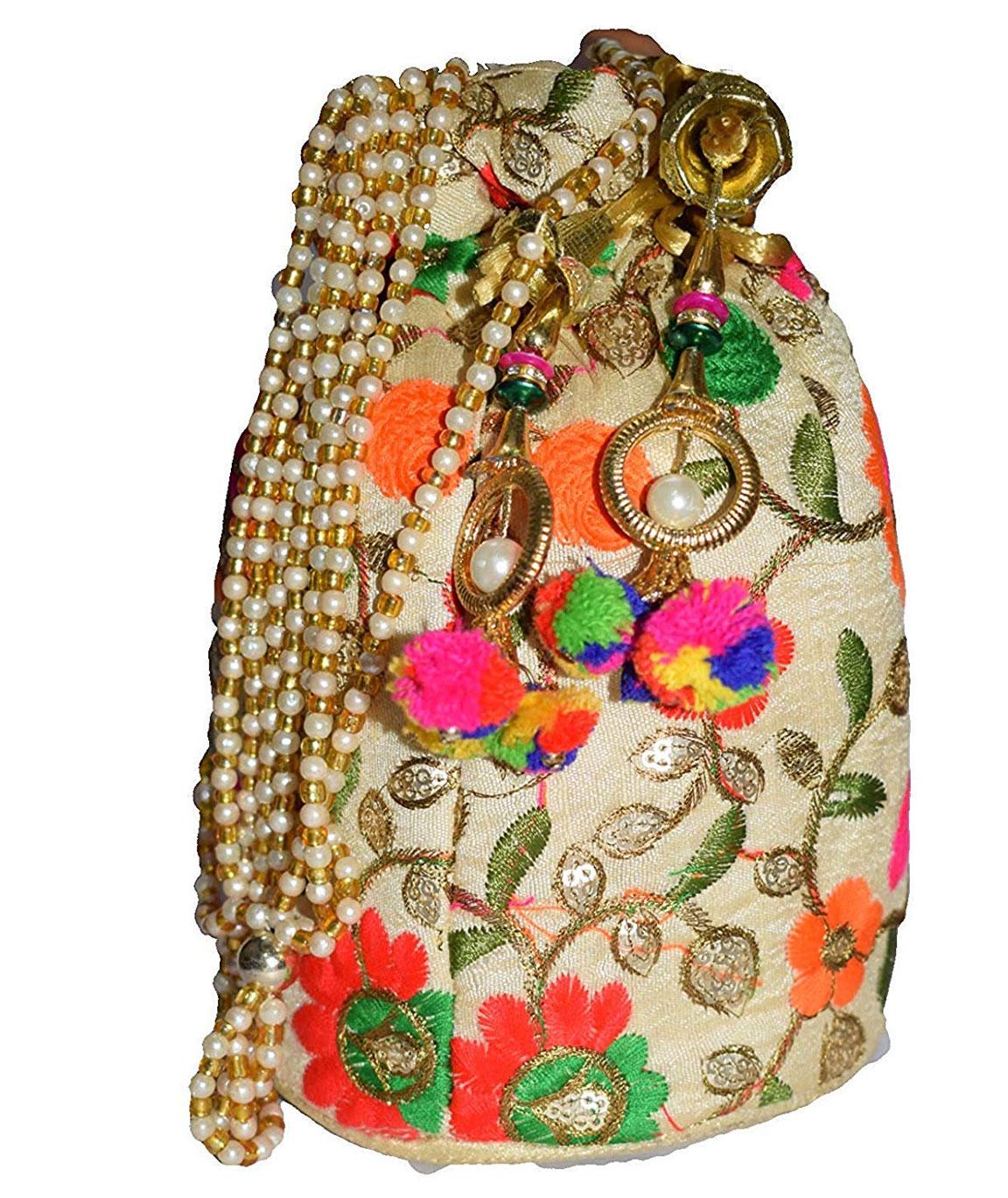 DN Enterprises Fashion House Handmade Designer Embroidered Rajasthani Clutch potli Style Bag for Wom