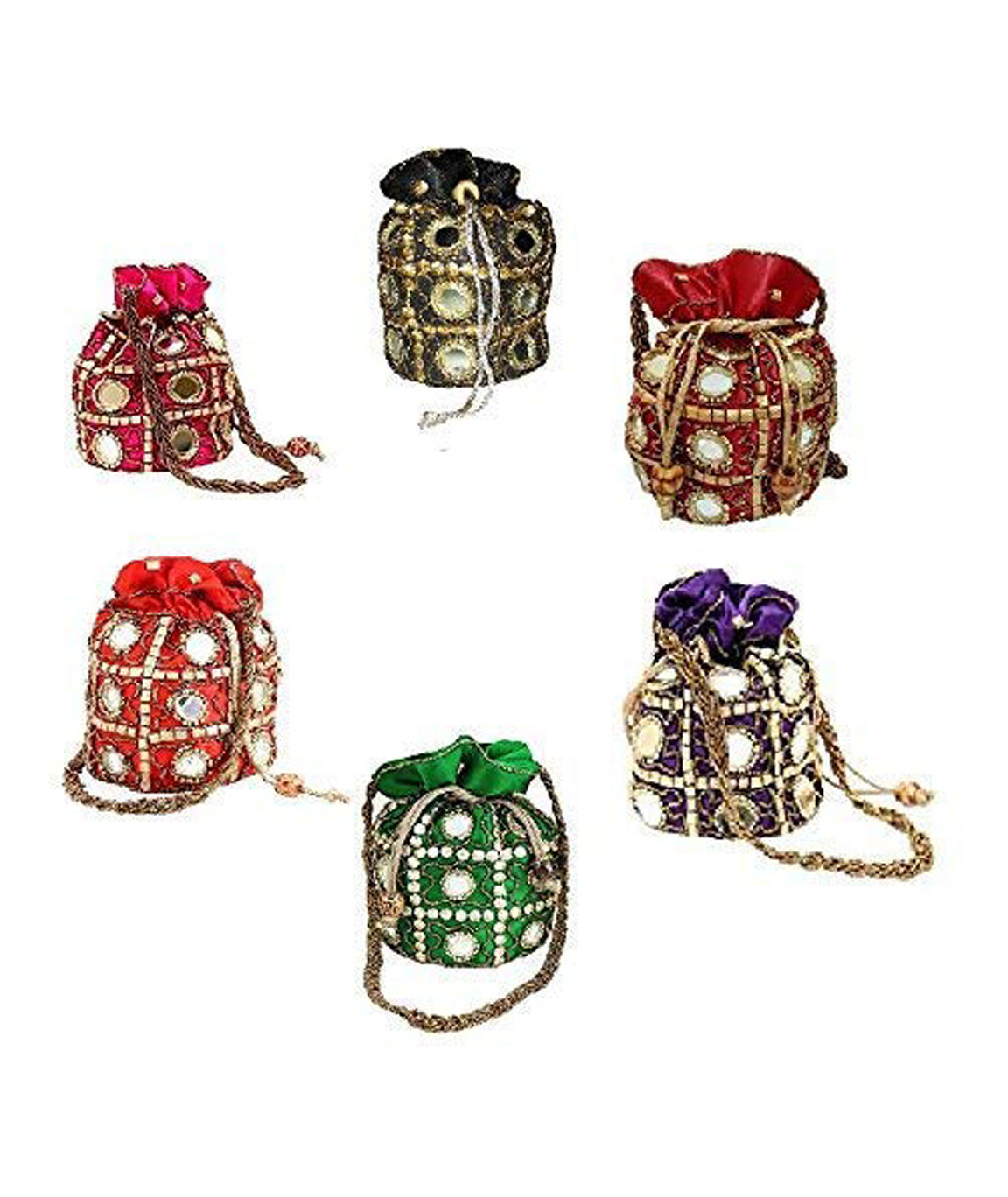 DN Enterprises Fashion Women`s Clutch Potli Bag - Set of 6(Multicolour)