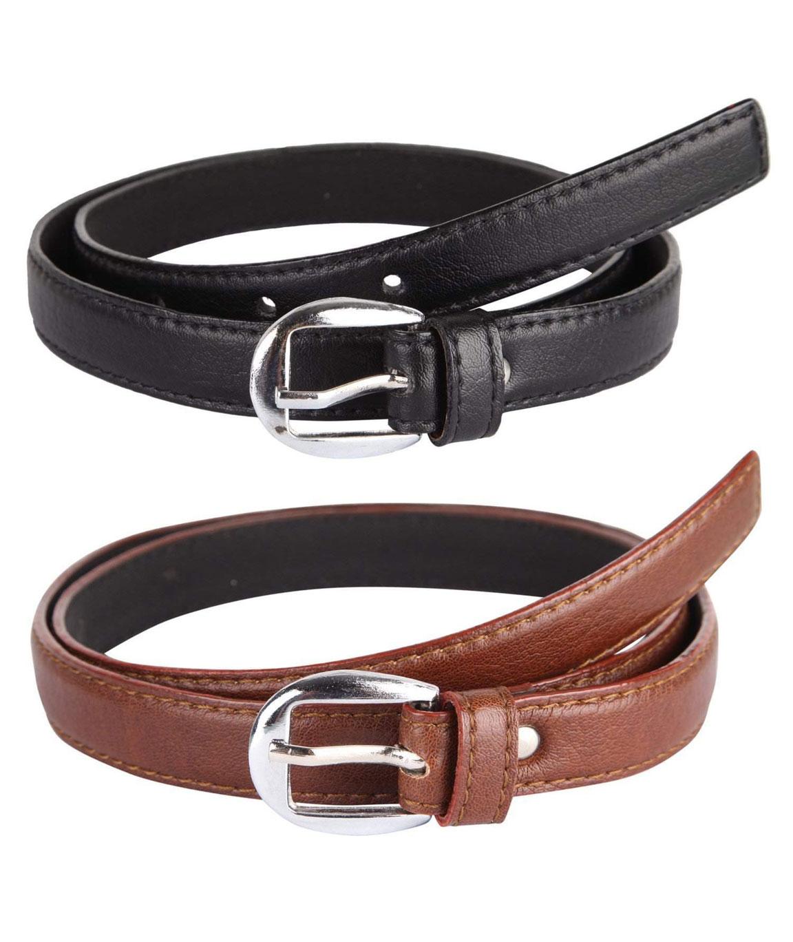 DN Enterprises Latest Design Girl`s PU Leather Belt/Party Wear Belt For Women/Girl…Pack Of 2 (BLAK-BROWN)