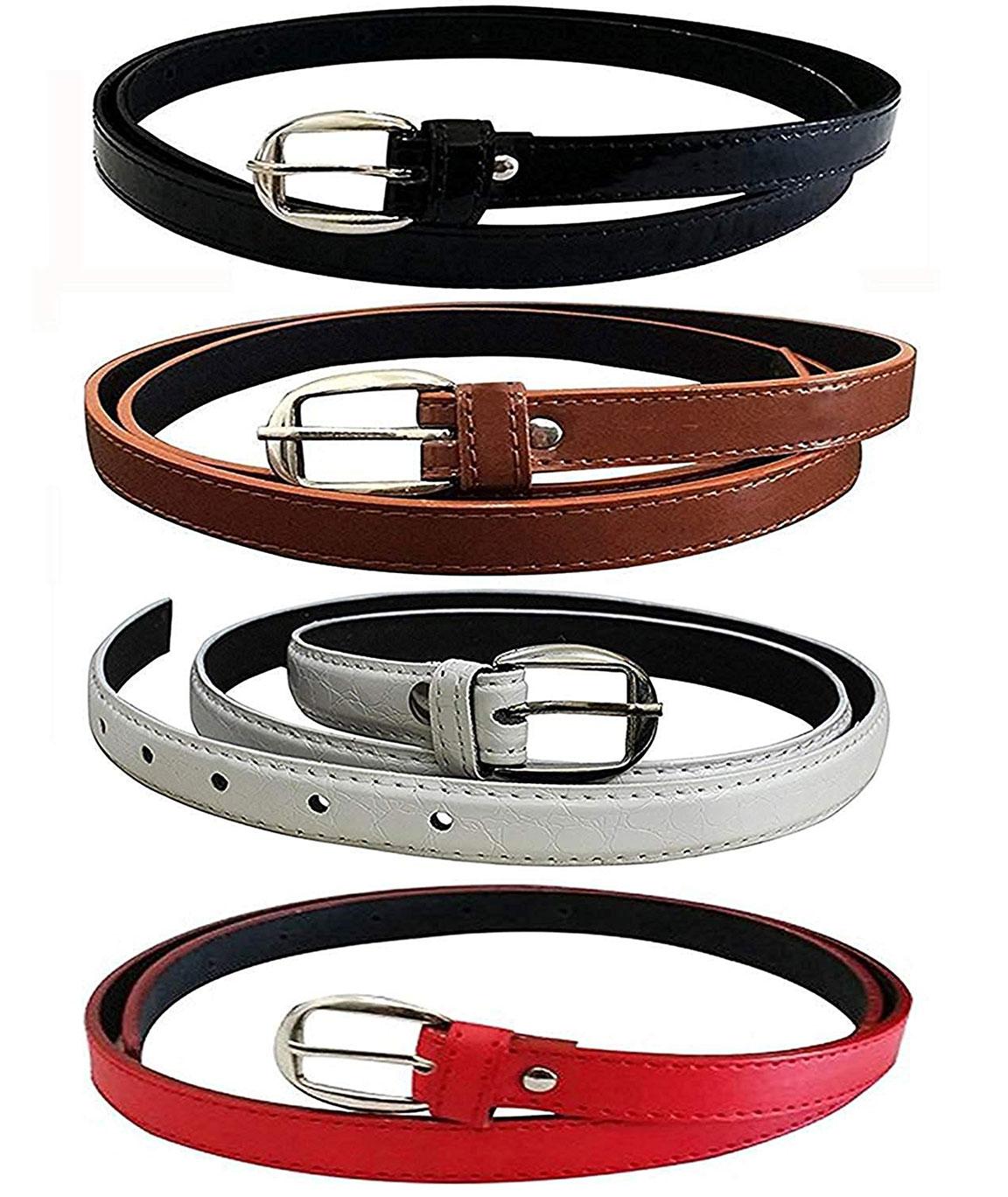 DN Enterprises Latest Design Girls PU Leather Belt/Party Wear Belt For Women/Girl…Pack Of 4 (BLK-BRWN-RED-WHT)