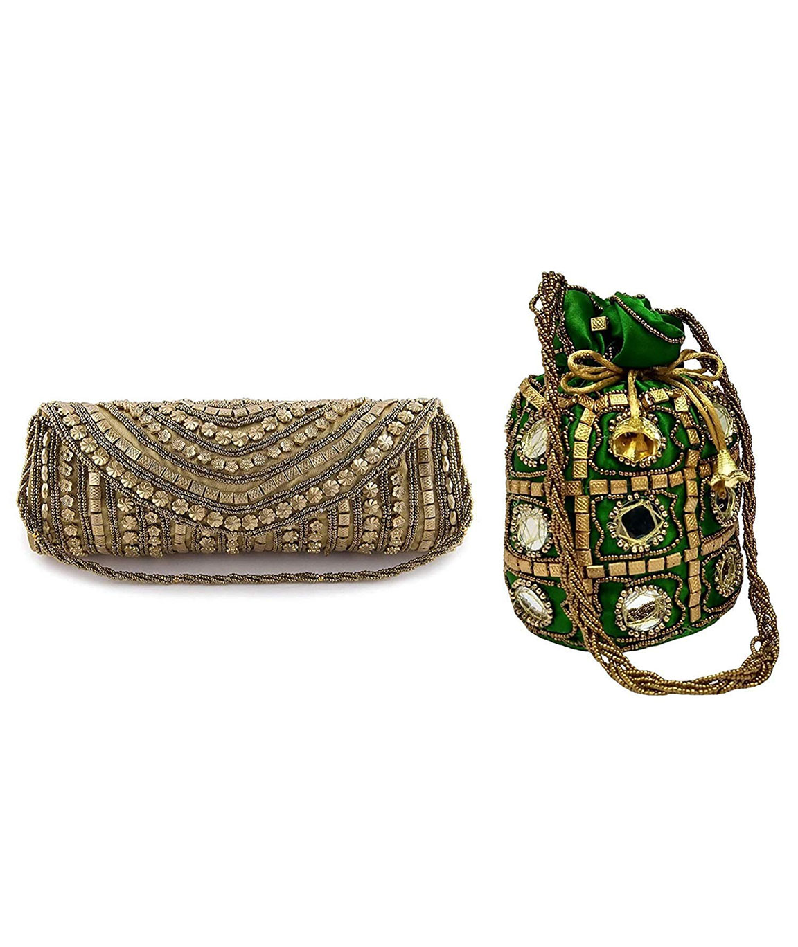 DN Enterprises Latest Potli & Clutch Combo For Women/Girls Fancy Potli Bag & Bridal Clutch(green&golden)