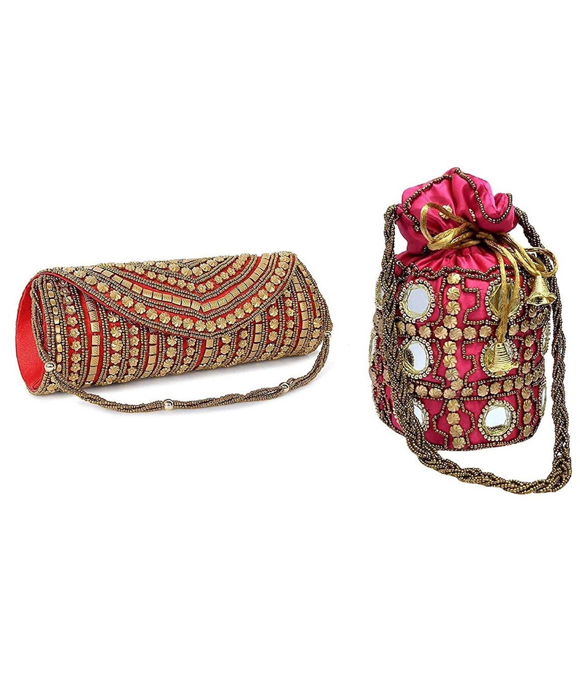 DN Enterprises Latest Potli & Clutch Combo For Women/Girls Fancy Potli Bag & Bridal Clutch(pink&red)