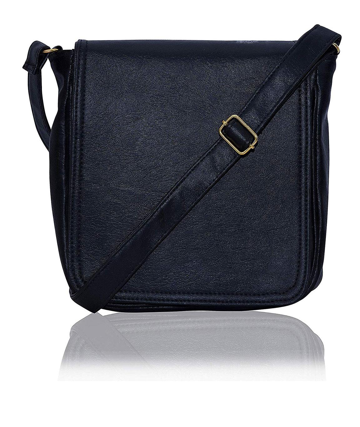 Dn Enterprises Leather Handmade Unisex Long Flap Cross-Body Sling Bag for Men/Boys/Shoulder Bag for Men.(black)