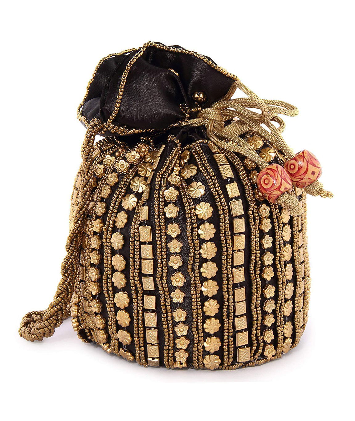 DN Enterprises Party Wear Potli Bag Bridal Potli For Women(black)