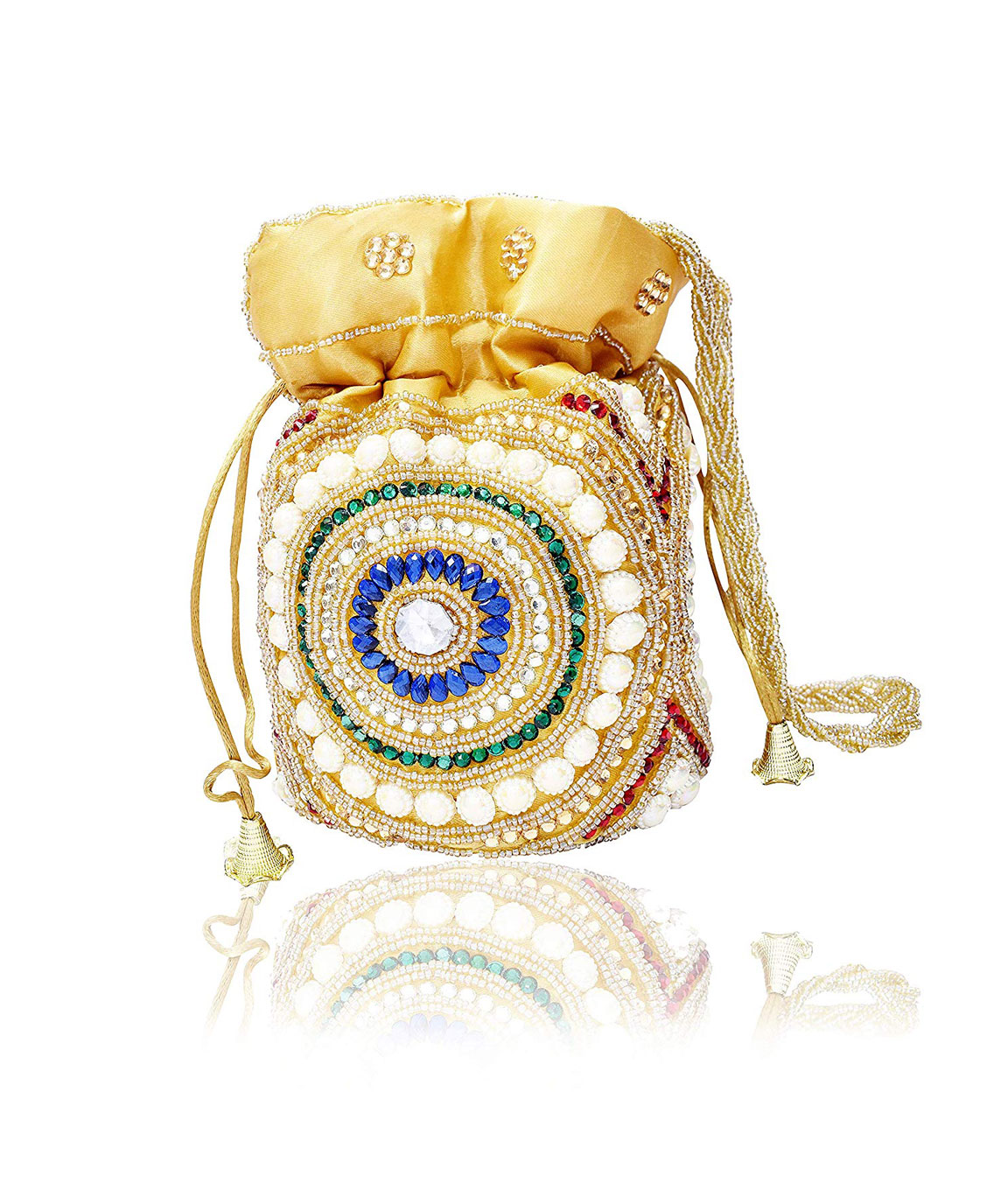DN Enterprises Party/Wedding Wear Potli Bag Bridal Clutch For Women`s(blue&multi)