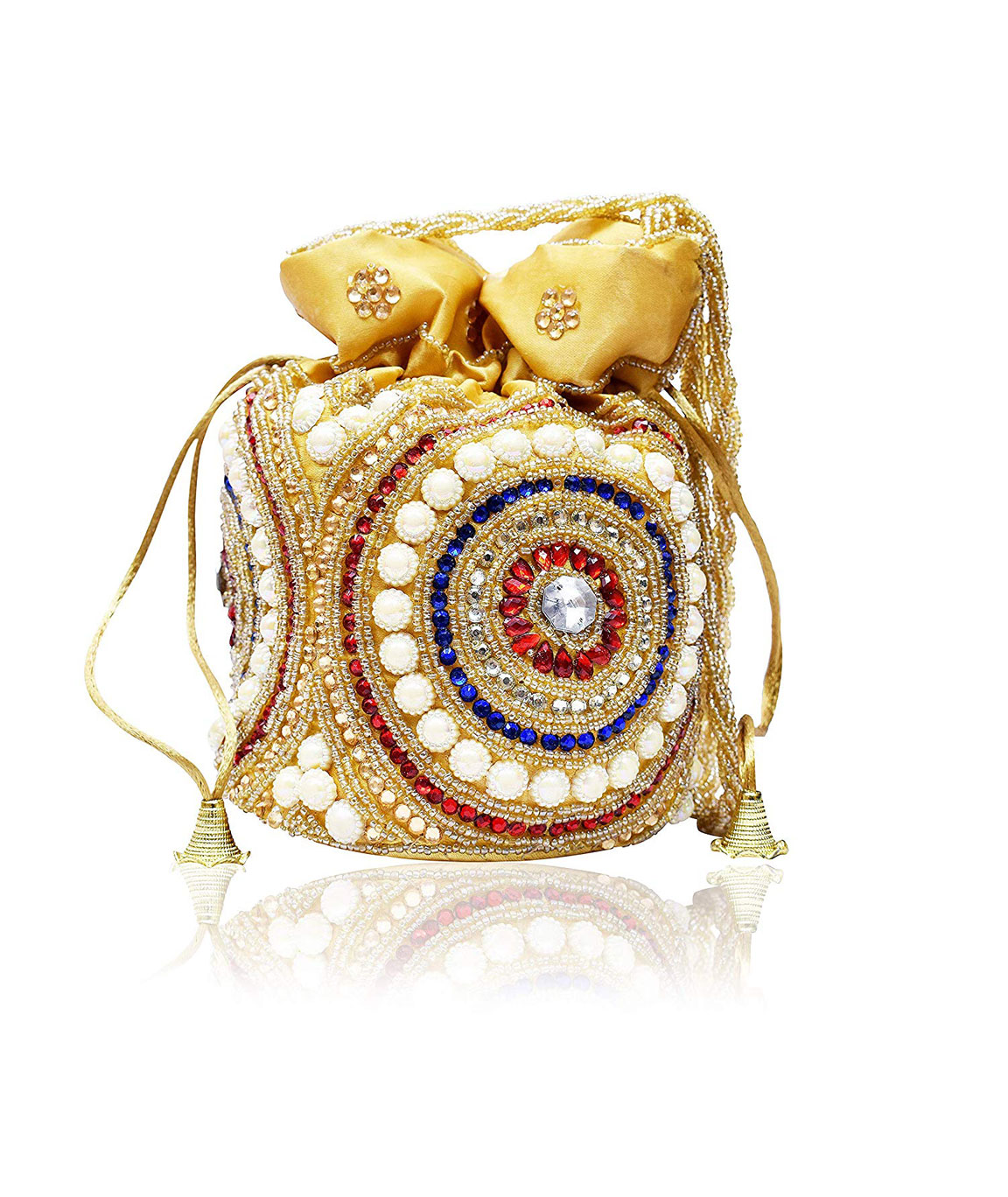 DN Enterprises Party/Wedding Wear Potli Bag Bridal Clutch For Women`s(red&multi)