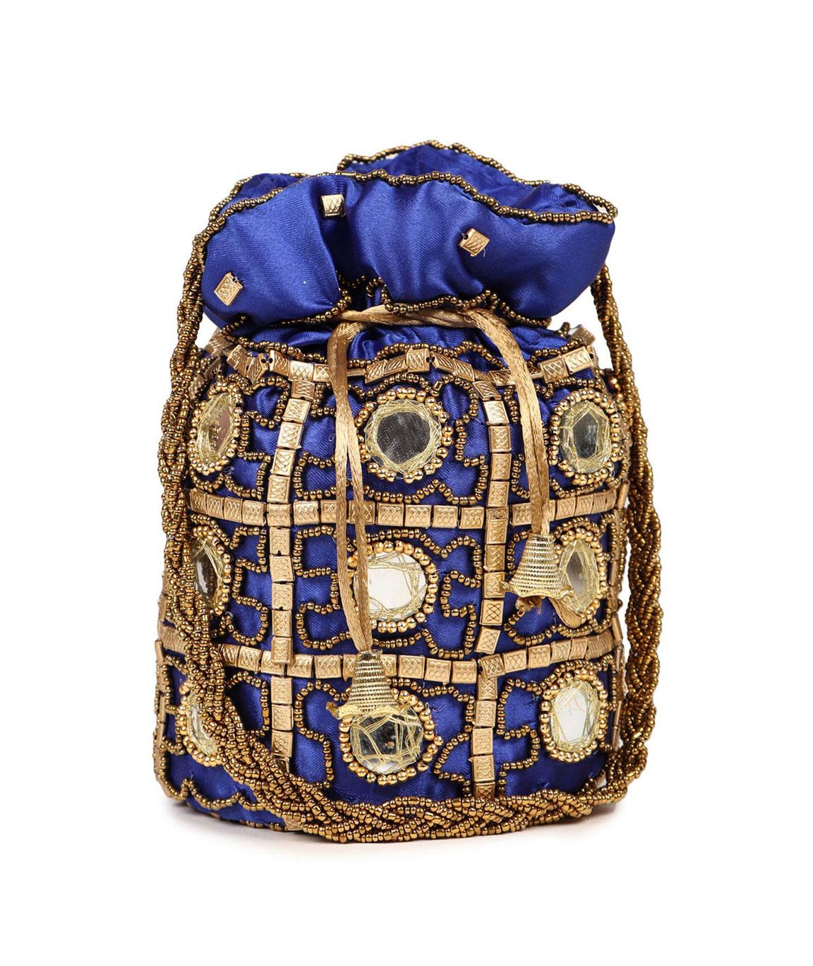 DN Enterprises Womens Ethnic Silk Potli Bag/Potli Purse/Bridal Wristlet, Gift for Her(blue)