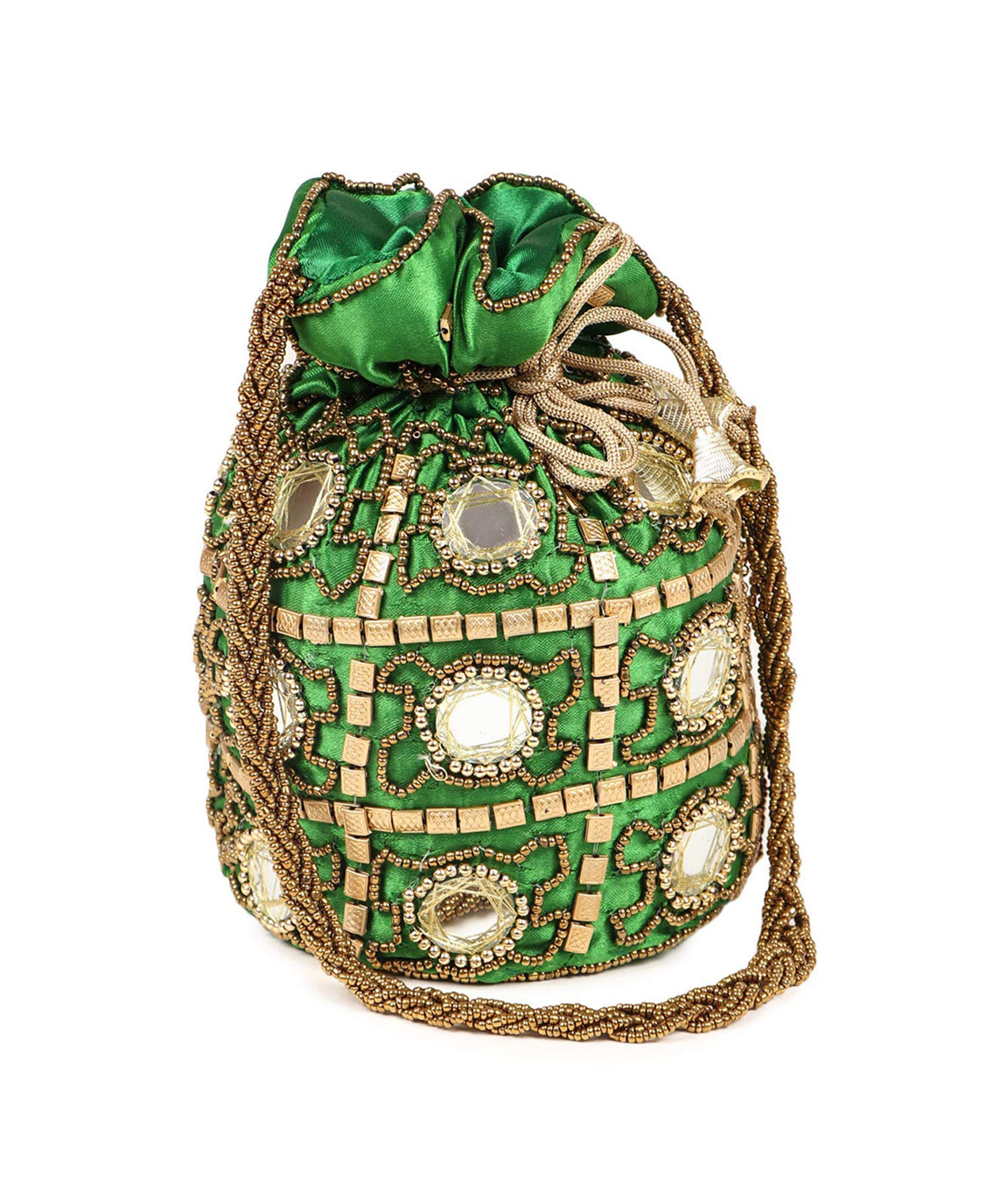 DN Enterprises Womens Ethnic Silk Potli Bag/Potli Purse/Bridal Wristlet, Gift for Her(green)