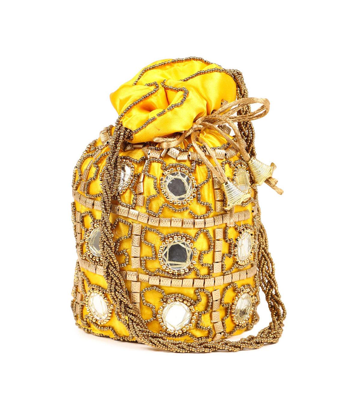 DN Enterprises Womens Ethnic Silk Potli Bag/Potli Purse/Bridal Wristlet, Gift for Her(yellow)