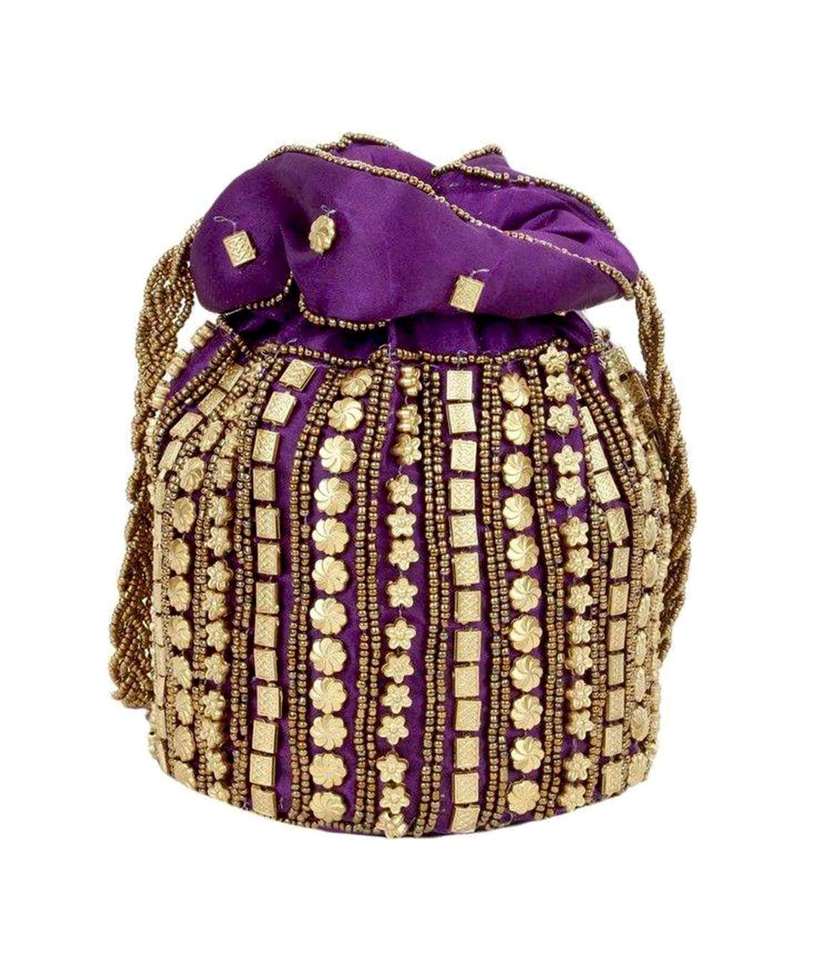 DN Enterprises Womens traditional designer beads embroidery party wear potli(purple)