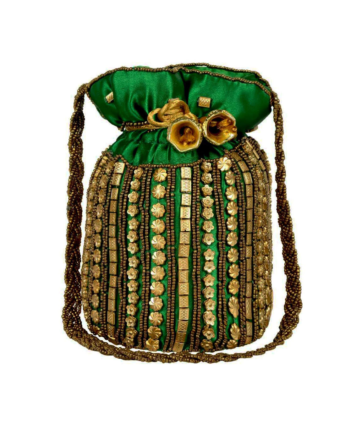 DN Enterprises Womens traditional designer beads embroidery party wear potli(green)
